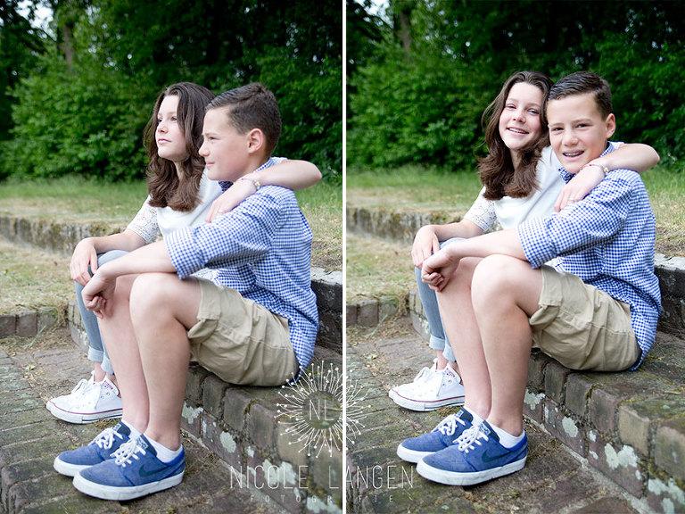 broer en zus fotoshoot op trapje bij Rustwat