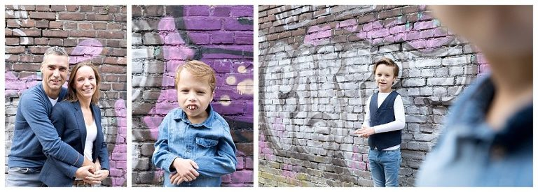 gezinsshoot met elkaar voor graffiti muur nieuwe stad amersfoort