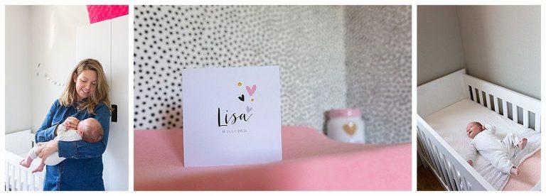 Babyshoot: mooie lifestyle shoot met newborn baby thuis in haar kamer