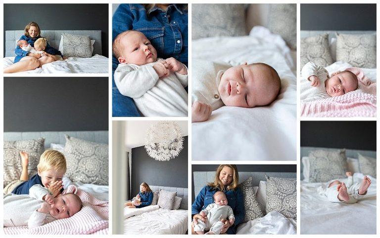mooie lifestyle fotografie: een collage van newbornshoot thuis