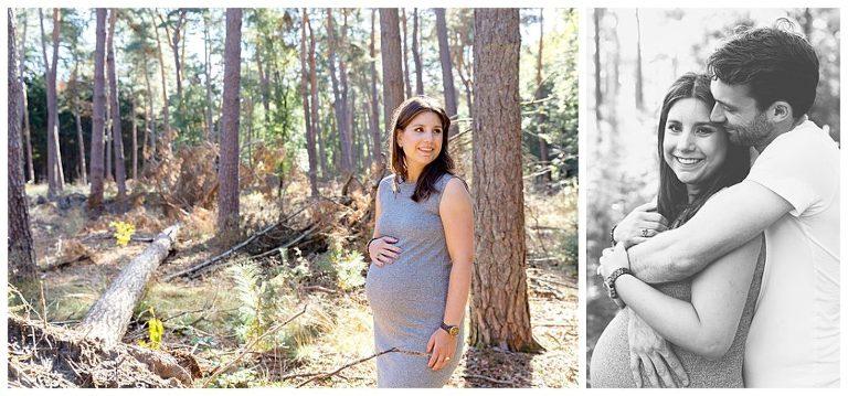 knuffelen tijdens de zwangerschapsshoot bij de bossen bij bilthoven tijdens de fotoshoot