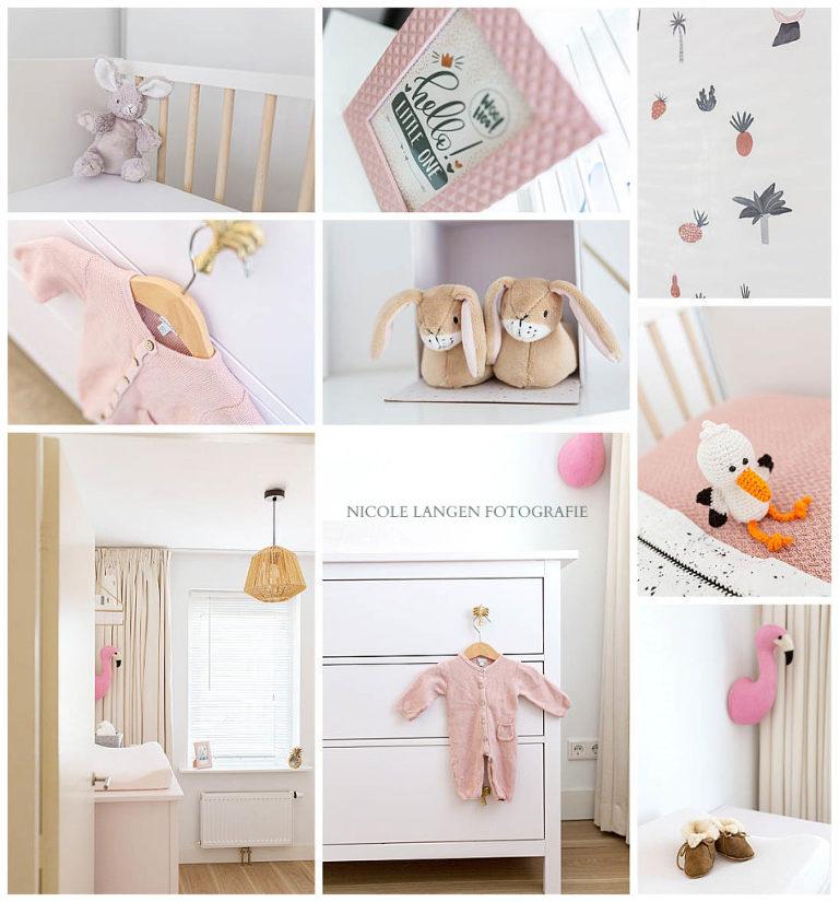 Meisjes babykamers:collage van de kamer van Olivia in zachtroze.