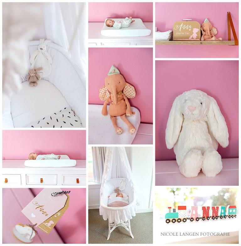 Meisjes babykamers: collage met veel roze van de babykamer van Anna