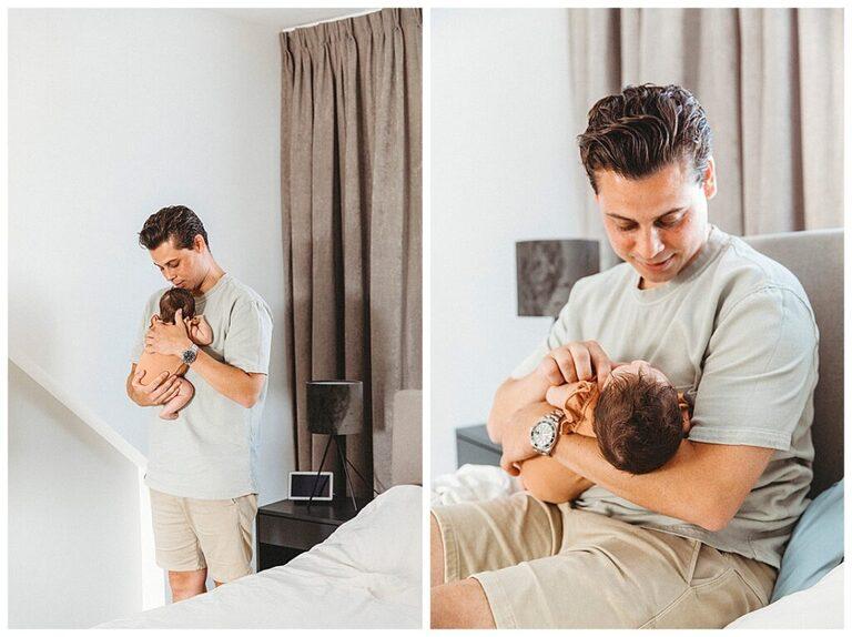 2 foto's van een vader die zijn pasgeboren dochter tegen zich aanhoudt.